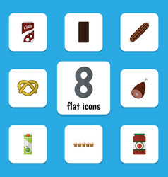 Flat icon meal set of packet beverage fizzy drink vector