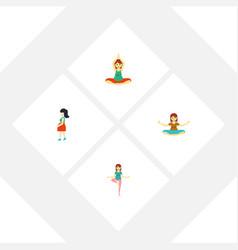 flat icon pregnancy set of mother meditation vector image