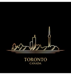 Gold silhouette of Toronto on black background vector image