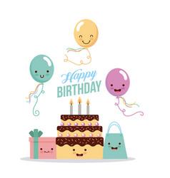 happy birthday kawaii gifts vector image