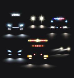Headlamp cars realistic set vector