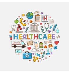 Health care set in the form of a circle vector image