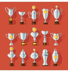 icons set of bronze sport award cups vector image vector image