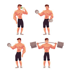 man male bodybuilder weightlifter working out vector image