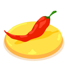 Pepper chilli icon isometric 3d style vector