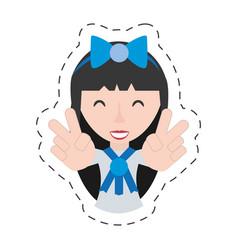 Portrait japanese girl student uniform vector