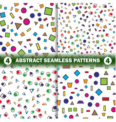 set of abstract seamless geometric pattern vector image