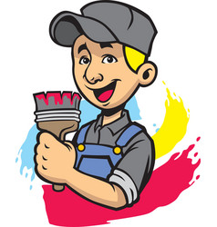Smiling painter man vector