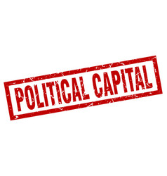 Square grunge red political capital stamp vector