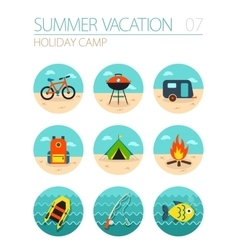 Summer camping icon set holiday vector