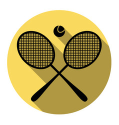 Tennis racket sign flat black icon with vector