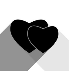 two hearts sign black icon with two flat vector image vector image