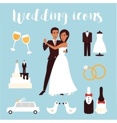 Wedding icons set bridal ceremony car dress and vector