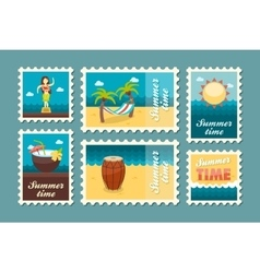 Island beach stamp set summer vacation vector