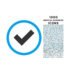 Accept rounded icon with 1000 bonus icons vector