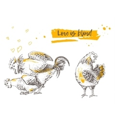 Mating of a rooster and hen vector