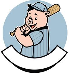 pig baseball player vector image