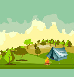 camping in the forest vector image
