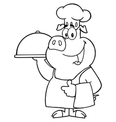 Pig chef cooking pork cartoon vector