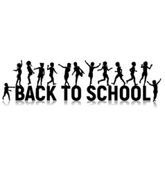 Back to school letters and silhouettes happy vector
