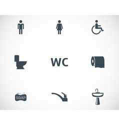 Black toilet icons set vector