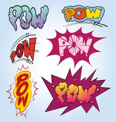 Set comic book explosion vector