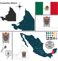 Map of campeche vector