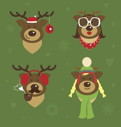Holiday deer family vector