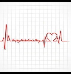 Valentine greeting with heartbeat vector