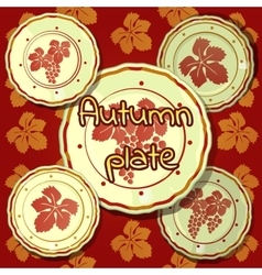 Set of autumn plates porcelain dishes vector