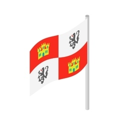 Royal spanish flag on columbus ship icon vector