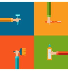 Human hands using cleaning products flat icons vector