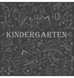 Kindergarten line art design vector