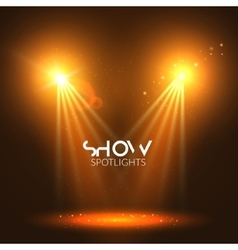 Spotlights empty scene illuminated stage design vector