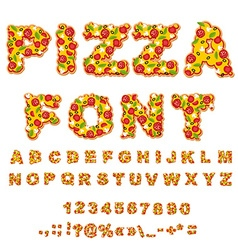 Pizza font letters dough food alphabet fast food vector