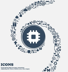 Central processing unit icon sign in the center vector