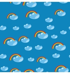 Cartoon seamless rainbow and cloud texture 635 vector image