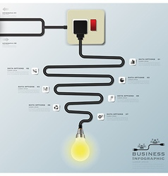 Light bulb electric wire line business infographic vector