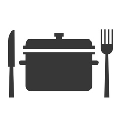 Cooking pot with fork and knife icon silhouette vector