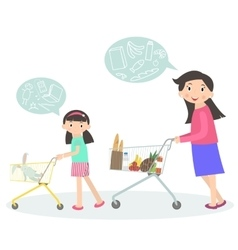 Family shopping together vector