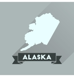 Flat icon with long shadow alaska map vector