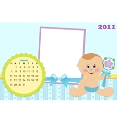Babys calendar for august 2011 vector image vector image