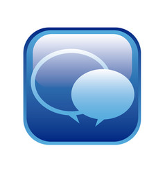 Blue square frame with speech bubbles vector