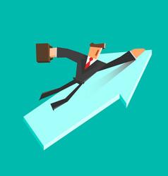Businessman flies on a growing arrow success vector
