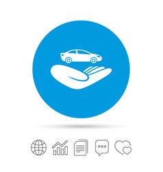 car insurance sign hand holds transport vector image