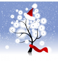 christmas hat on winter tree vector image vector image
