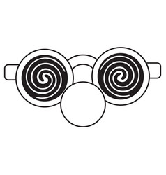 Clown glasses and red nose thin line vector