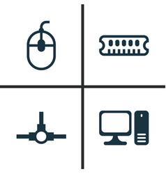 Computer icons set collection of dynamic memory vector