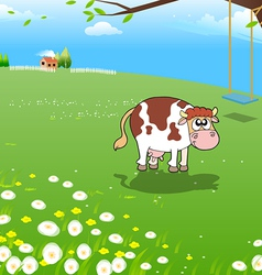 Cow on a farm vector