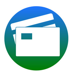 Credit card sign white icon in bluish vector